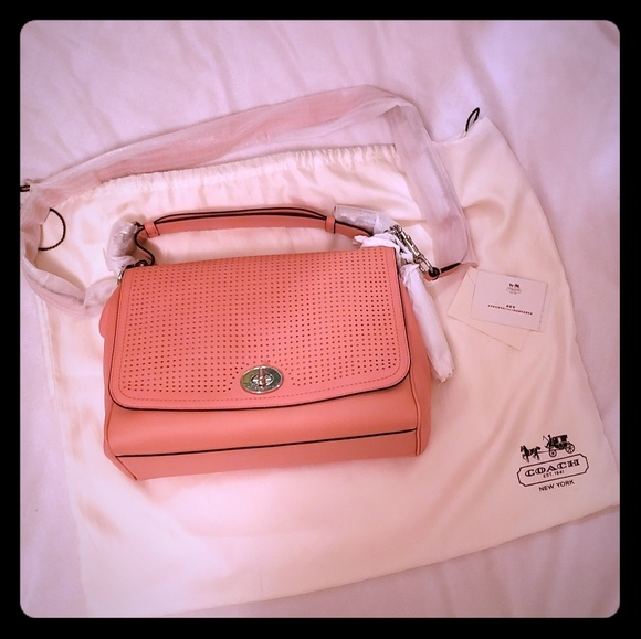 Coach Handbags - NWT Coach purse pink salmon Romy Legacy collection